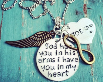 Memorial Jewelry - Angel Wing Necklace - Personalized with Custom Heart Charm - God Has You in His Arms, I Have you in My Heart