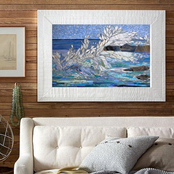 Outside Beach Wall Decor: MOSAIC SEASCAPE Wall ART Indoor / Outdoor Panel By