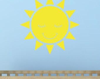 Smiling Sun Wall Decal  sunshine decal nursery wall decal FREE SHIPPING