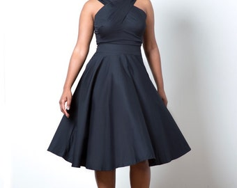 Black midi dress with pockets - The Rules of Engagement A-line Dress