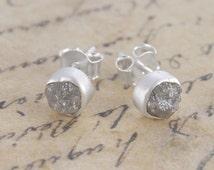 Rough Diamond Studs, Diamond Earrings, Silver Stud Earring, Silver Gemstone Earrings, Raw Diamond, Unique Earrings, Handmade Stud,925 Silver