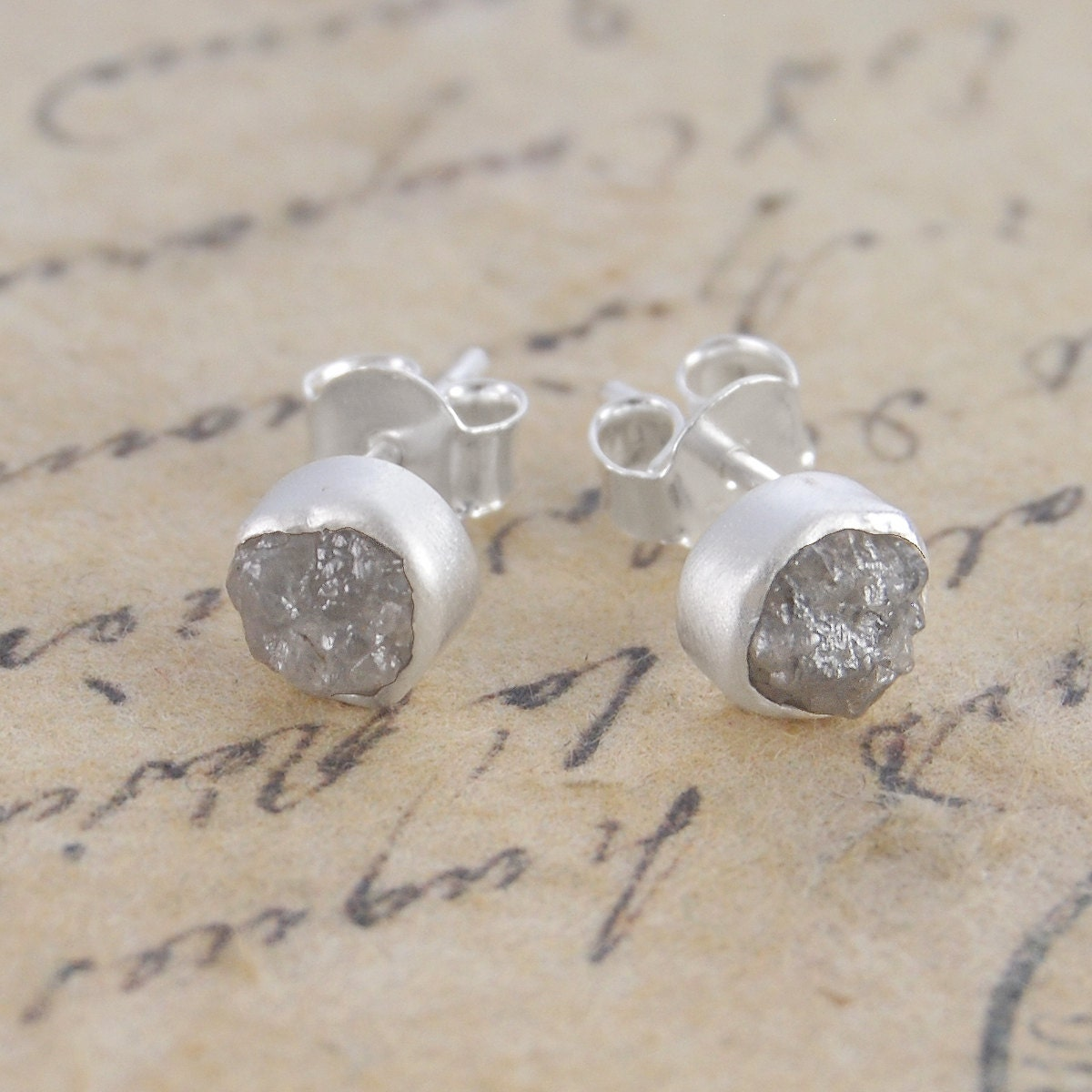 Rough Diamond Studs Diamond Earrings Silver Stud Earring