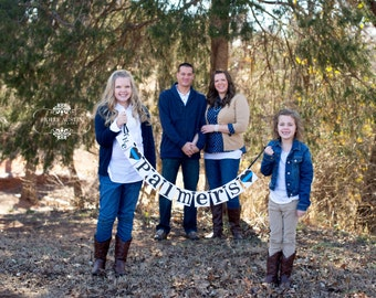 Last Name Banner - Family Sign Police Decor - Rustic Garland - Family Photo Prop - Fireplace Decoration - Wall Hanging - House Warming Gift