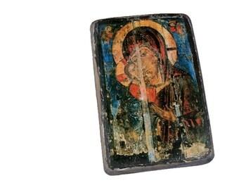 """16x11cm - 6""""x4"""" wooden icon of Theotokos, Mother of God, Virgin, Lady, Madonna of Kashin, Russia. Ikona Bozej Materi . Eleusa"""