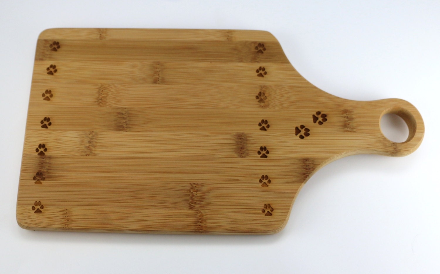 Bamboo Cutting Board Engraved With Paw Prints