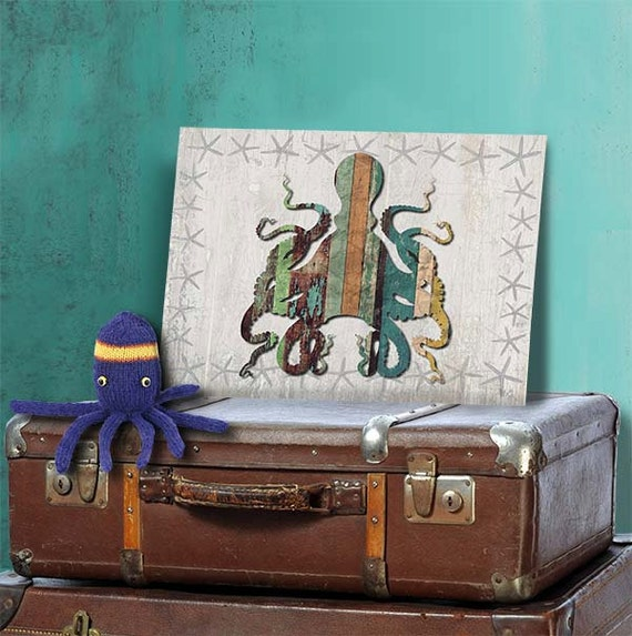 Wooden Octopus Wall Decor : Distressed wood octopus nautical print coastal wall art