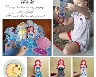 Magical Mermaid World Paper Toy Playset Printable Paper Craft PDF - A4