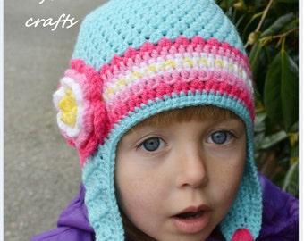 Handmade Crochet hat for girls, Flower hat, Girls Hat