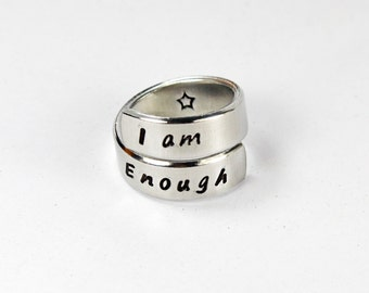 I Am Enough Ring, Aluminum Twist Wrap Ring, Gift Ring, Hand Stamped Adjustable Aluminum Ring V2