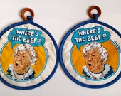 Where's The Beef WENDY'S Clara Peller Vintage Set of 2 Potholders Oven Mitts 1984