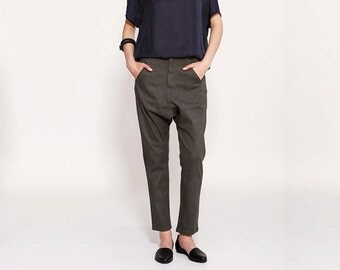 Dark Grey Pants, Women Skinny, Casual Pants, Low Drop Crotch Trousers