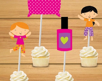 Sleepover Party cupcake toppers - set of 24