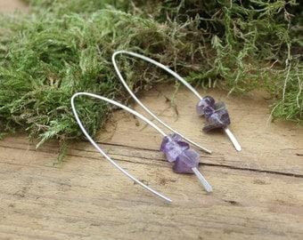 Amethyst earrings. Amethyst jewellery. Sterling silver earrings. Dangle earrings. Boho jewellery. Boho earrings. Gift. Gift for girlfriend