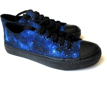 converse shoes black and blue. custom handpainted galaxy sneakers,personalized shoes, converse, vans, low top converse shoes black and blue