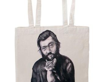 Handpainted tote bag Julio Cortazar with cat Fanart custom eco friendly bag