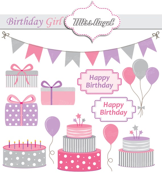 Baby Gift Vector : Baby girls birthday party clipart digital
