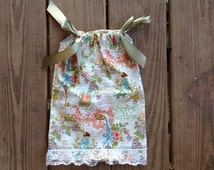 Boutique Style Secret Garden Lace Vintage Girls and Baby Cute Handmade Pillowcase Dress