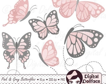 Pink Butterfly Clipart - Printable, Butterfly Birthday Decorations / Clip Art Illustrations