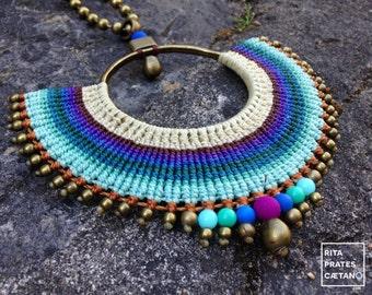 MAR . Big Macrame adjustable statement Pendant Necklace . Beige, brown, purple, blue and green gradient.