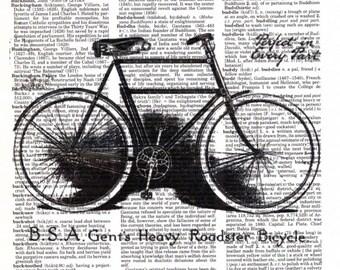 Vintage Wall Art Print - Dictionary Art - Vintage Dictionary Paper - Vintage Bike