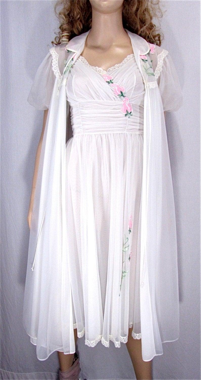vintage peignoir set xsmall 32 bridal lingerie honeymoon. Black Bedroom Furniture Sets. Home Design Ideas