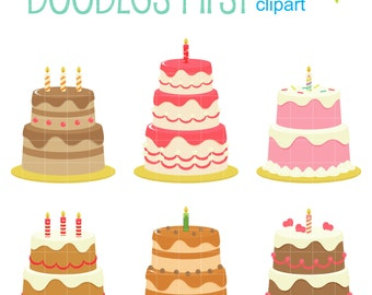 Fun birthday Cakes Digital Clip Art for Scrapbooking Card Making Cupcake Toppers Paper Crafts