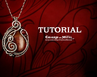 TUTORIAL Pendant Lesson Wire Wrapped Jewelry Necklace Wrap Pendant Bead Wire Weave Tutorial step by step