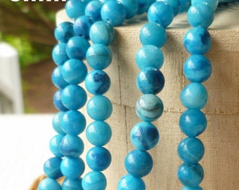 "16"" Strand 6mm Blue Crazy Lace Agate Gemstone Beads Boho Beach Wrap Ladder Bracelet Supplies"