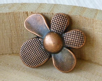 Copper Flower Buttons - Flower Buttons - Metal Buttons - Metal Flower Buttons - Copper Buttons - Wrap Bracelet Clasp - Button Clasp - Daisy