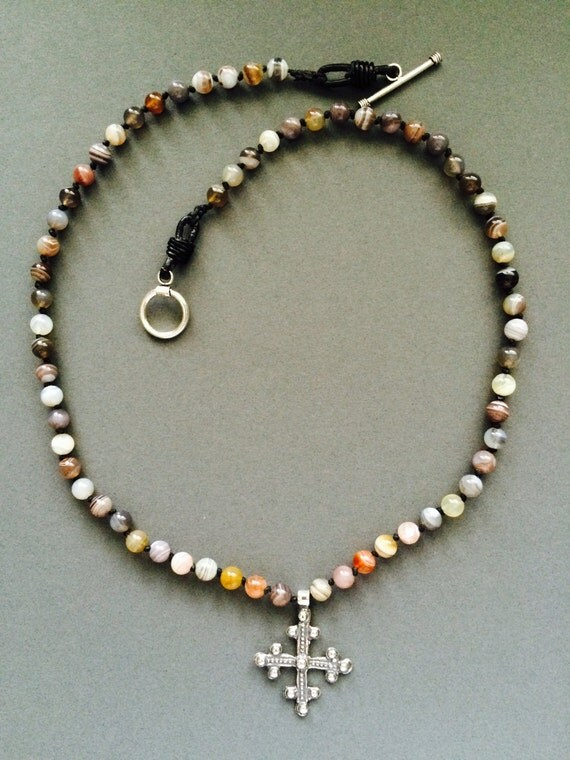 Sterling Silver Crusader Cross and Botswana Agate Necklace