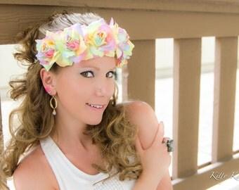 Pastel Rainbow Rose Flower Crown, Flower Headband, Kawaii Headband, Lolita Hair Accessories, Pastel Goth Headband, Pride Headband