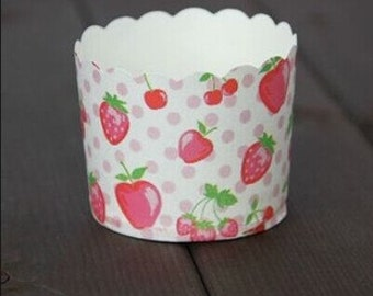 CLEARANCE SALE! Strawberry, Apple and Cherry Fruits Baking Cups Muffins Cups Treat Cups (20)