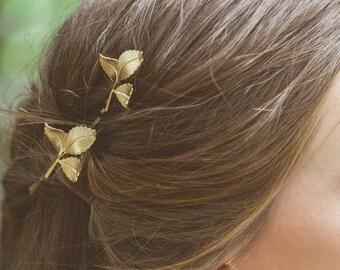 Grecian Leaf Hair Clips Gold Leaf Bobby Pins Leaf Hair Pins Greek Goddess Grecian Hair Accessories Bridal Bridesmaid Autumn Fall Womens Gift