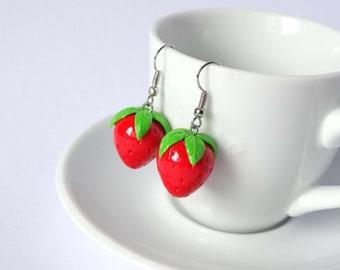 Strawberry earrings dangle fruit kawaii cute handmade polymer clay