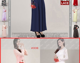 Blue Lace Maxi Dress with Puff Sleeves - Dark Blue Lace Maxi Dress - Navy Maxi Dress - Teal Maxi Dress - Long Prom Dress- 20+ Colors CD2N