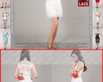 White Lace Dress with Scallop Hem and Neck - Lace Mini Dress - Lace Sheath Dress w. Eyelash Finish - Lace Wedding Dress - CD18