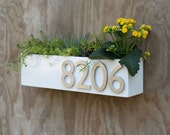 Modern White Succulent Wall Trough Planter & Address Plaque - Planter w/ (4) Brushed Aluminum Address Numbers (Free Shipping)
