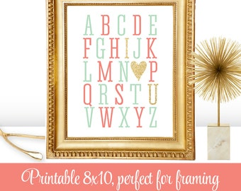 Alphabet ABC I Love You - Printable Baby Girl Nursery Room Art Baby Shower Birthday Wedding Decoration Sign - Coral Mint Gold Glitter Heart
