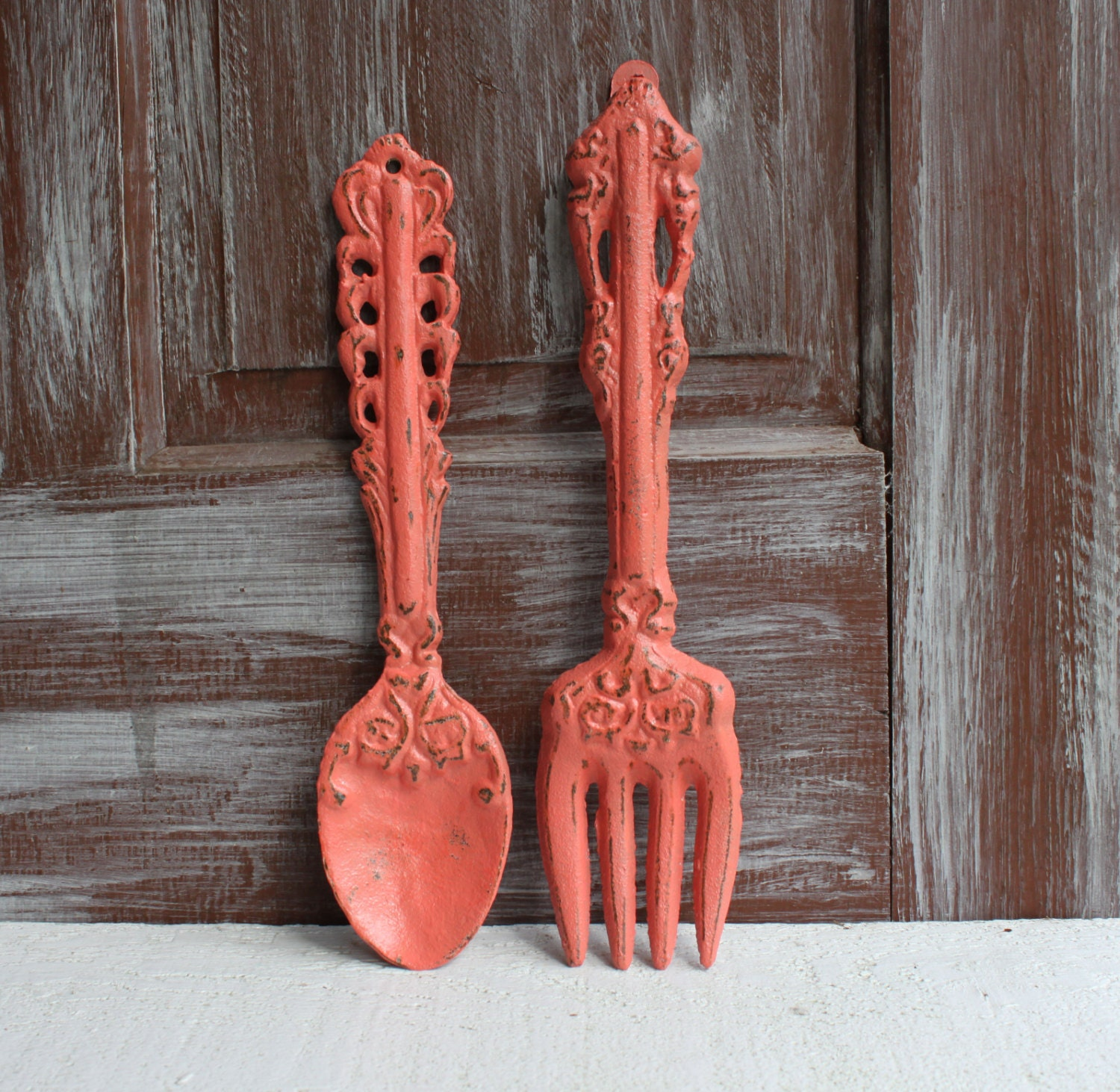 Metal Fork And Spoon Decor Kitchen Wall Decor Coral Wall