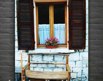 Italian Street Photography, Windows and Flowers, Cagli, Le Marche, Italy