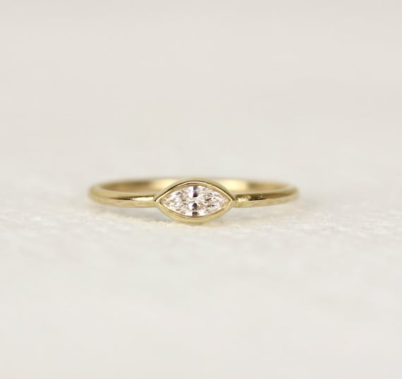 Marquoise Diamond Engagement RingSimple And Elegant by KHIMJEWELRY