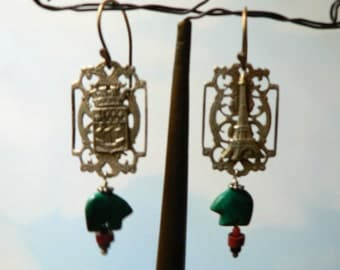 French Souvenir Bracelet Link Earring with Malachite Fetishes