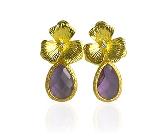 Amethyst birthstone earrings, Purple crystal earrings,Amethyst February birthstone earrings,Gold bridal jewellery,Gold flower bridal earring
