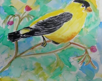 Painting Bird Yellow Goldfinch 8x10 Alcohol Ink Original Art in 11x14 burgundy acid free mat #200