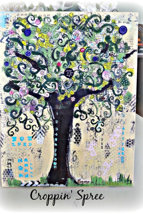Custom Order for Emma- Original Mixed Media Canvas Tree Art. Tree of Love. 12 x 14 Inch Canvas Art. Great for Any Room and Occasion