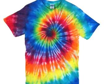 Tie Dye T-Shirt - Classic Rainbow Spiral - 100% Cotton Mens & Womens Shirt