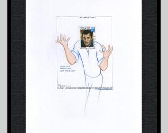 Framed Rock Hudson extended stamp portrait