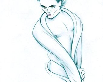Robert Pattinson original graphite drawing by Dave Woodman