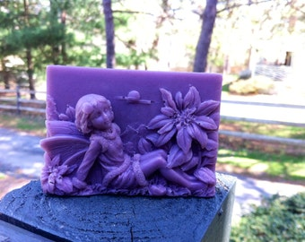 """Soap """"Fairy"""", Handmade Purple soap,Beautiful Girl, Nice gift, natural Soap, with Kaolin clay, Present, Party favor, Wedding Soap"""