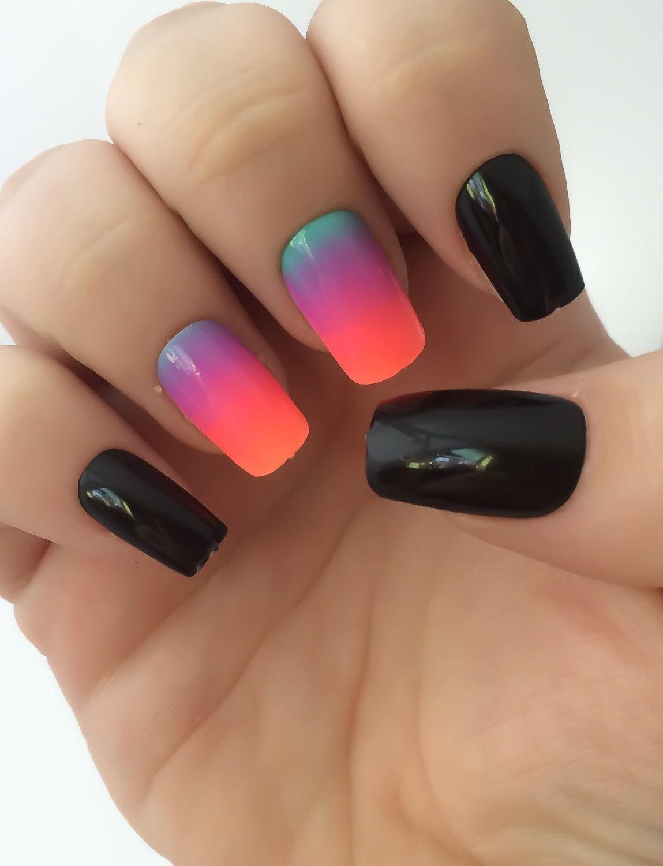 Ombre Fake Nails, Bright Nail Polish, Black Nail Polish